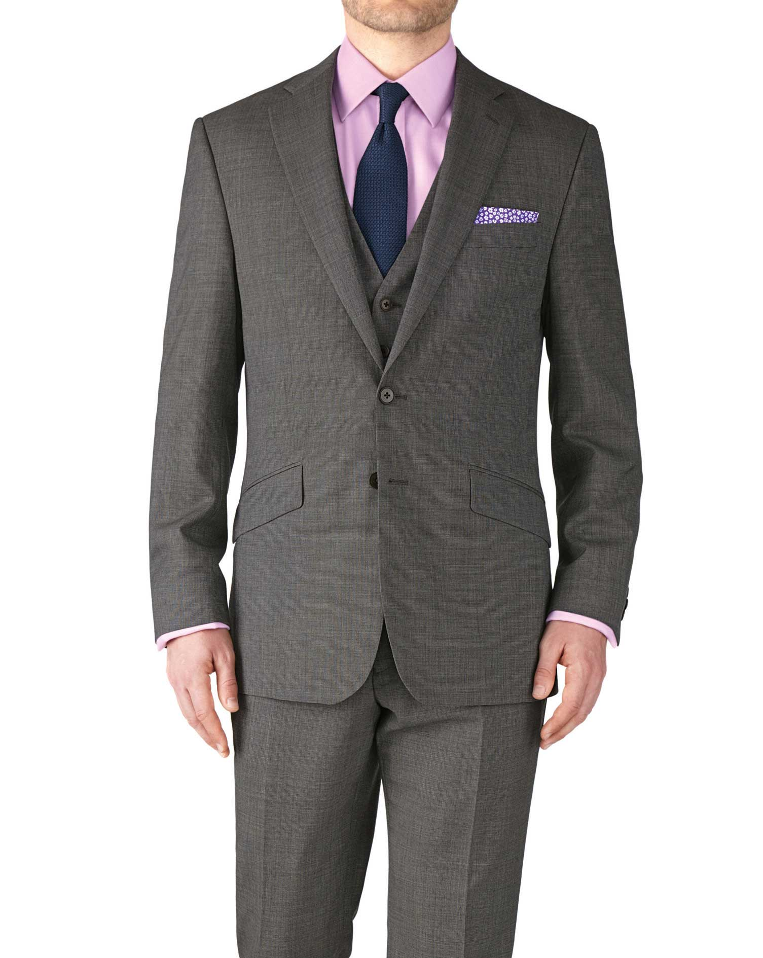 grey slim fit end-on-end business suit jacket knqauux