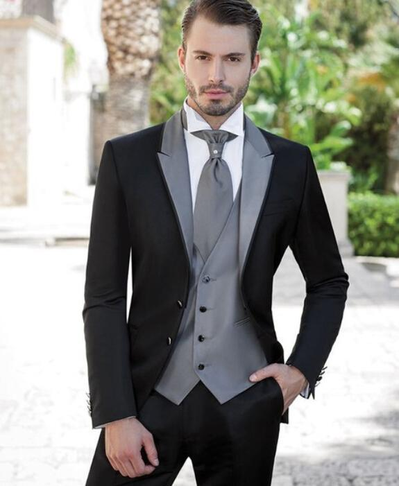 grooms suits 2017 latest coat pant designs black and gray groom tuxedos 3 piece wedding  prom elxjfwa