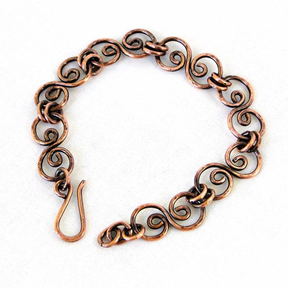handcrafted jewelry, hammered copper bracelet, antiqued copper, scroll link  bracelet vaogovw