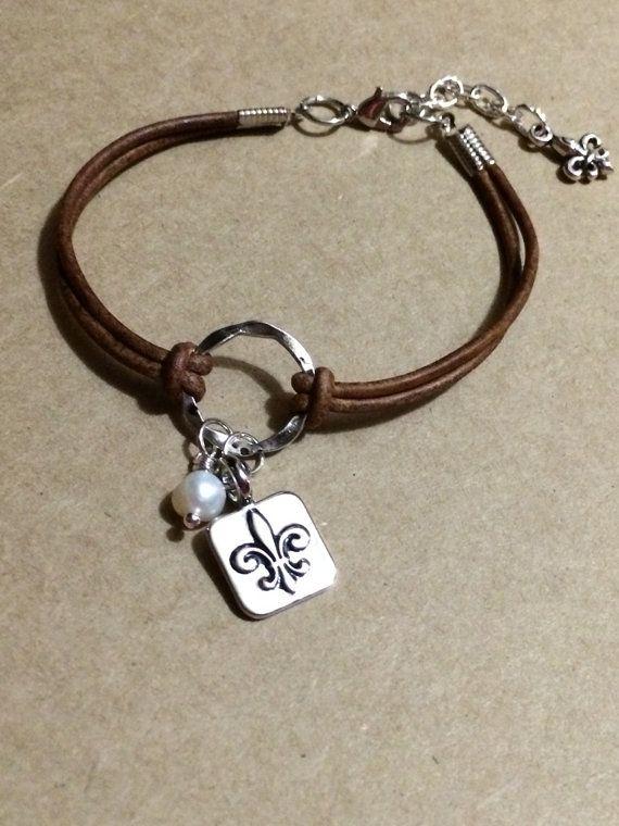 handmade bracelets leather handmade bracelet with freshwater pearl and fleur de lis ctbnhce