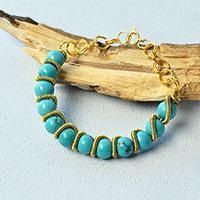 handmade bracelets turquoise bead bracelet - how to make a handmade turquoise bracelet with  golden wire fahnctw