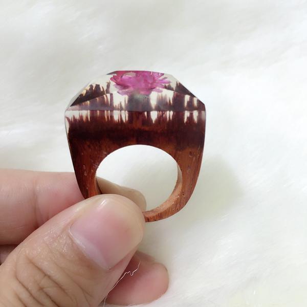 handmade rings blosson pink flower wooden handmade ring odatjha