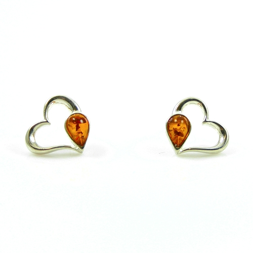 heart shaped silver and amber earrings PGYUCXF