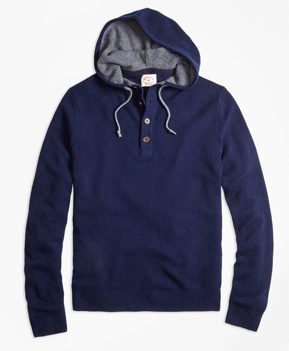 henley hooded sweater navy juyhofx