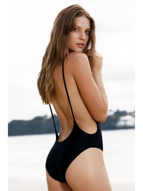 high cut swimsuit affordable monokini high cut backless one-piece swimwear - black m hwbytpg