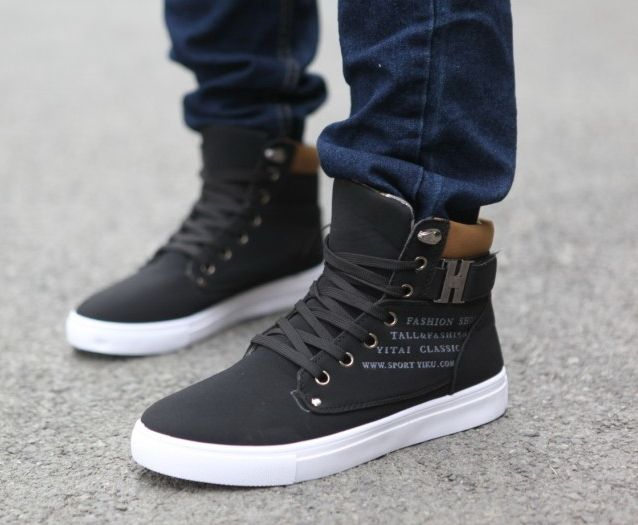 Kenneth Cole Reaction Design Mens Black Leather High Top Sneakers Shoes See more like this Harley Davidson Men's Nathan D Black/Orange Leather High-Top Sneakers Shoes .