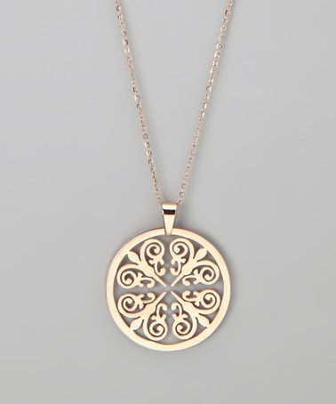 hmy jewelry rose gold round pendant necklace opazcgf