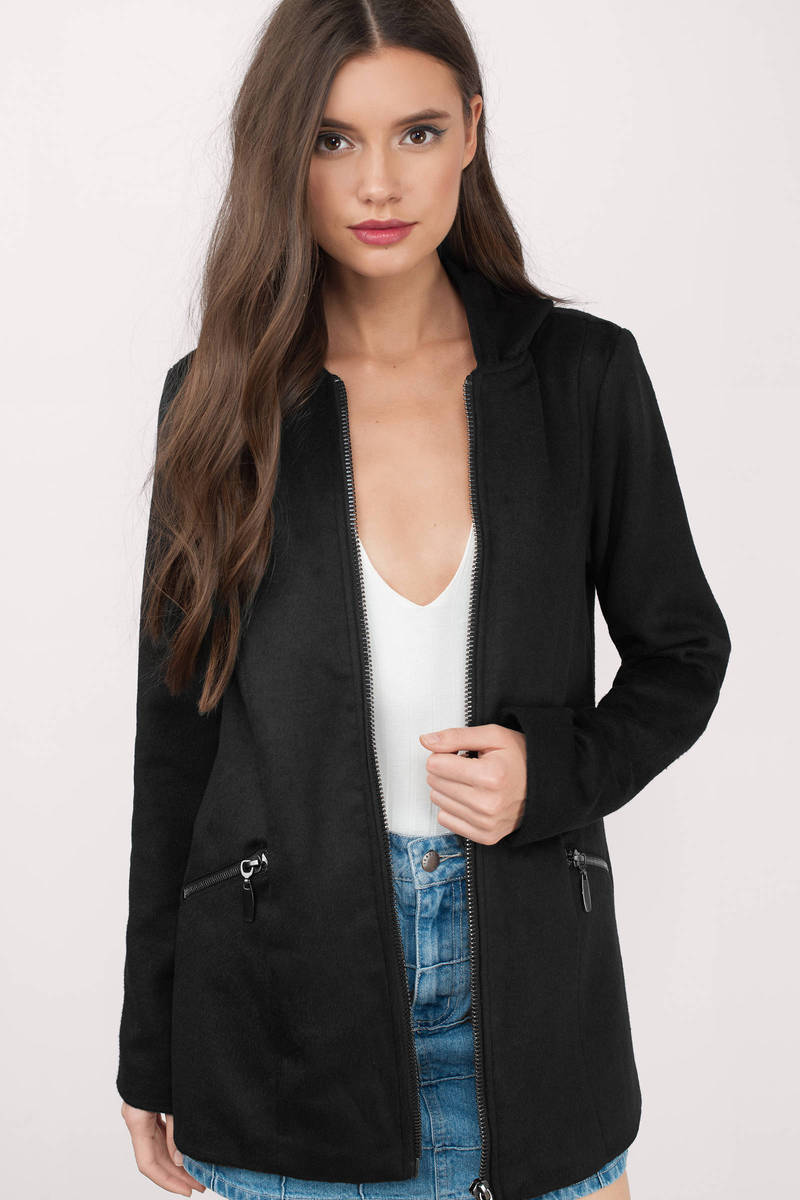hooded up black wool coat jteicwg