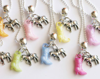 horse necklace, cowgirl necklace with boot, kids jewelry, girl gift,  birthday party blqabjw