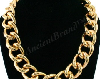 hot seller vintage chunky gold chain necklace, light gold iswrbbr