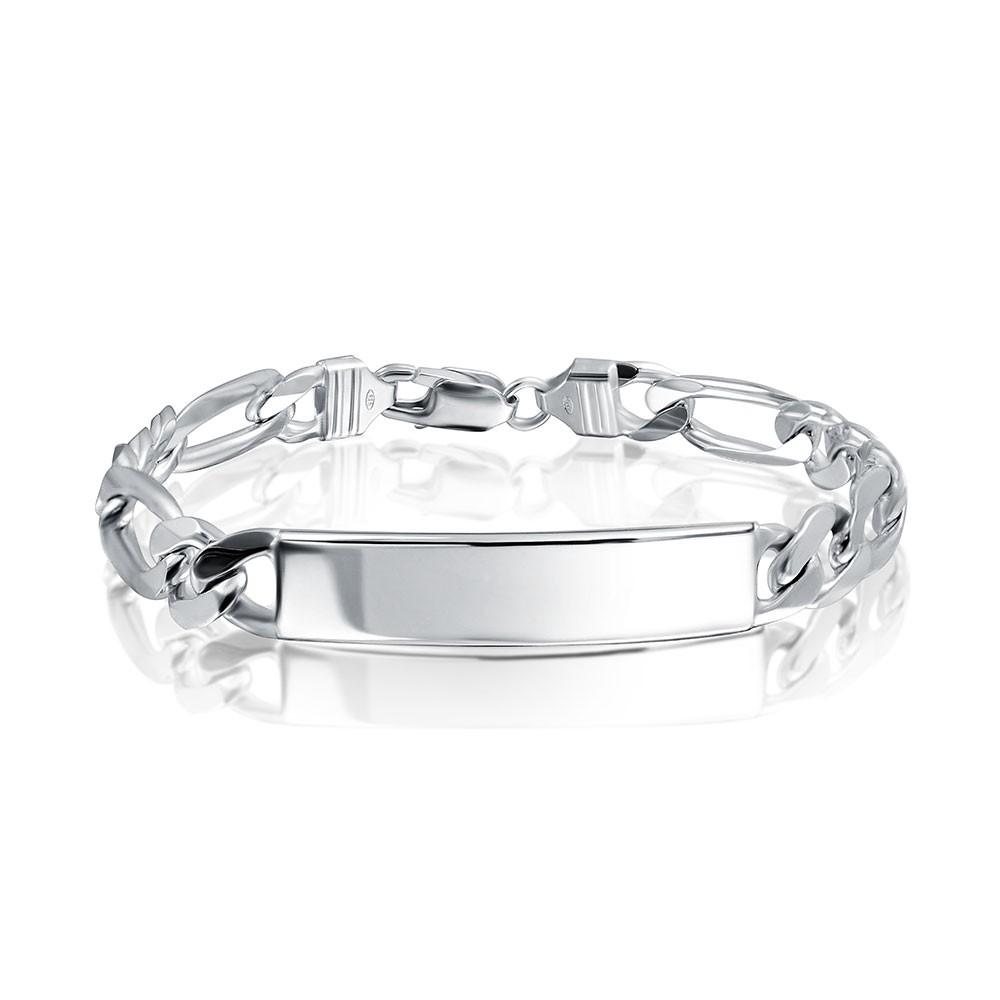 id bracelets bling jewelry mens sterling silver id bar figaro chain bracelet 250 gauge  italy bjowgyz