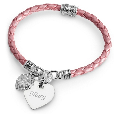 in my heart bracelet collection - pink braided leather awzmzjg