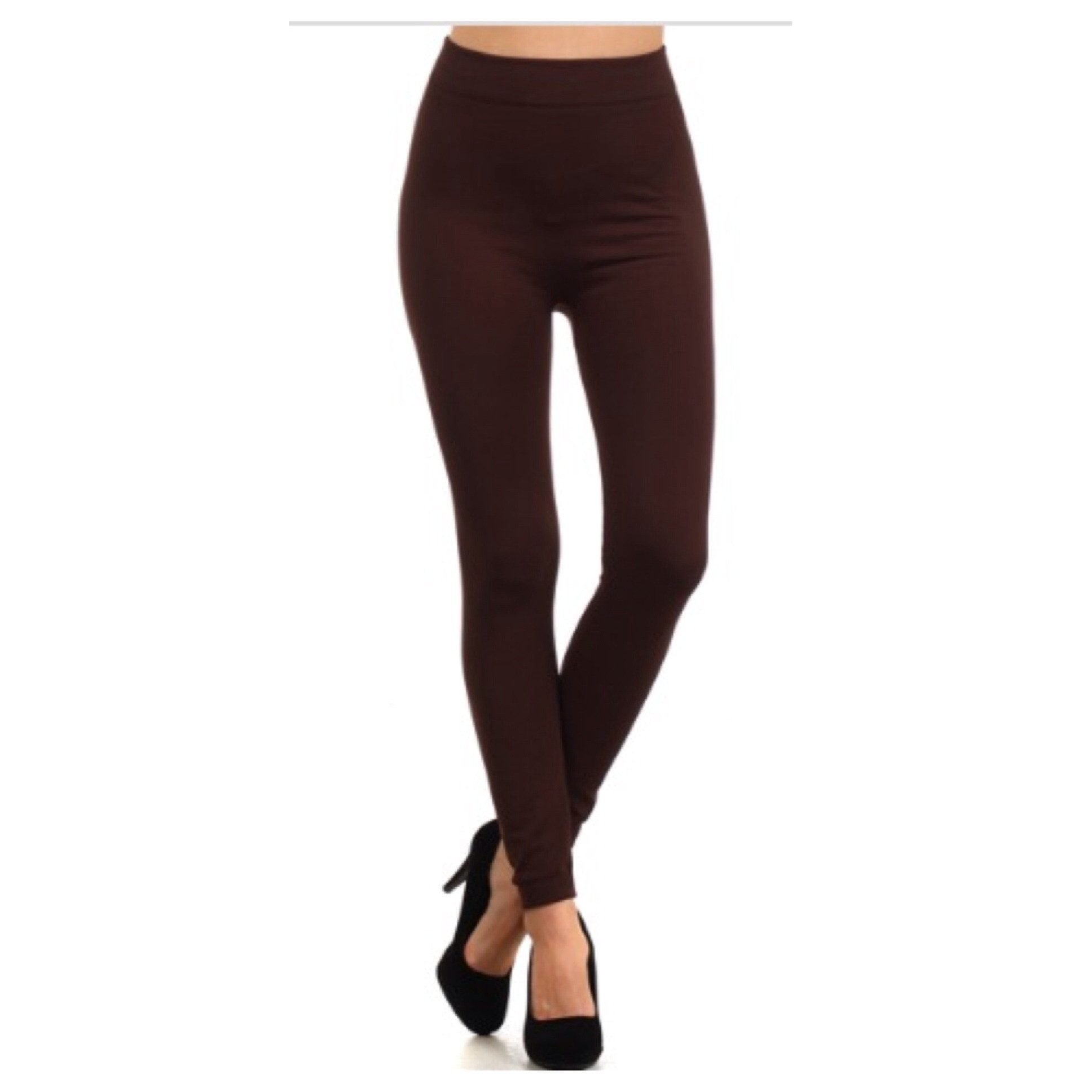 in style fleece lined solid coffee brown leggings ocsznuh