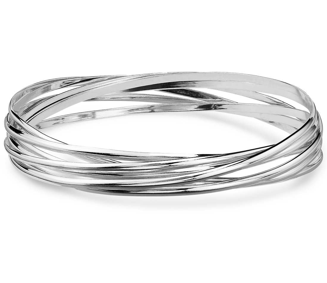interlocking bangle bracelets in sterling silver RULTSEJ