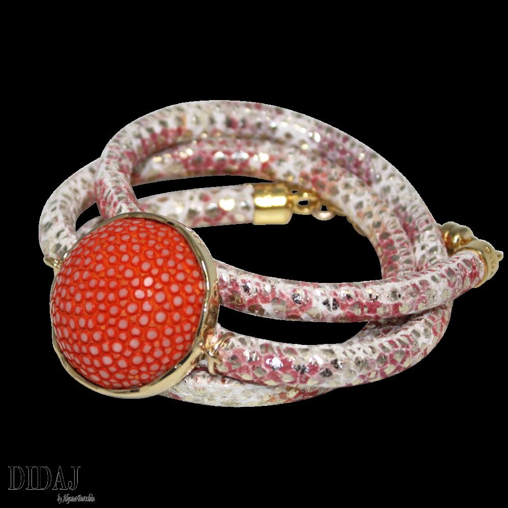 italian bracelets didaj gold u0026 coral snake italian wrap leather bracelet with orange stingray  connector ukgbkut