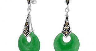 jade earrings 925 sterling silver marcasite green jade dangle earrings fkeztnk