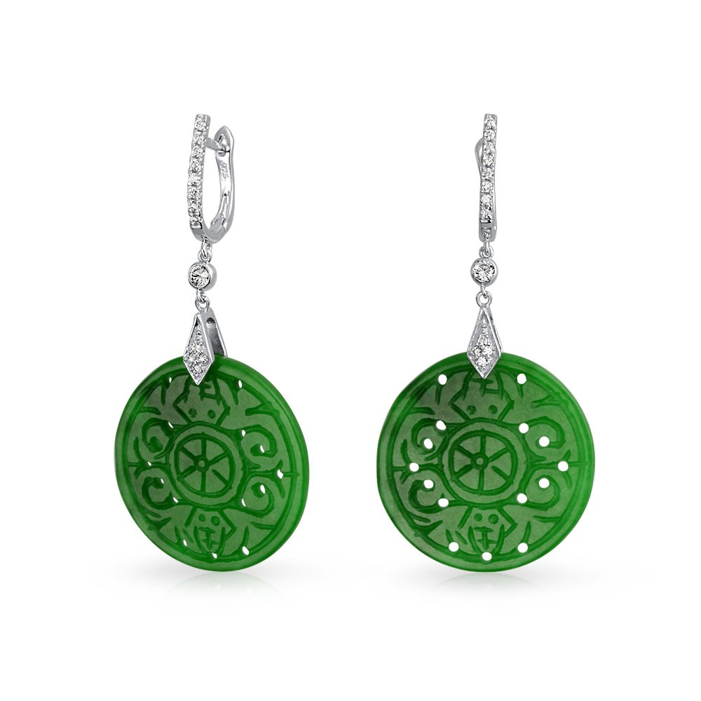 Jade Earrings Bling Jewelry Natural Green Cz Buddhist Wheel Drop Sterling Silver Tgpudkr