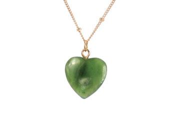 jade necklace - jade heart necklace - canadian jade - heart necklace - a exoxvxu