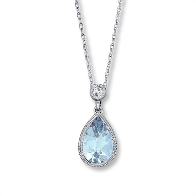 jared - aquamarine necklace diamond accent 10k white gold JENMTQO