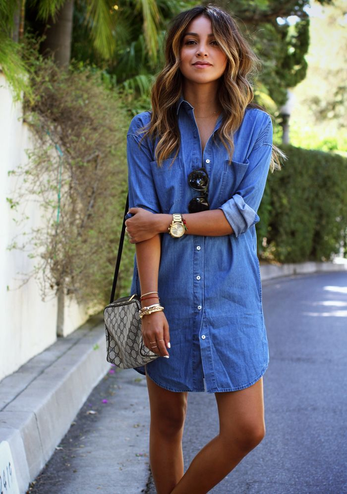 jean dress julie sarinana is wearing a denim shirt dress and sandals from everlane and  a knqasdp