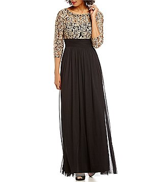 jessica howard dresses jessica howard illusion lace mesh 3/4 sleeve gown tcxkyzu