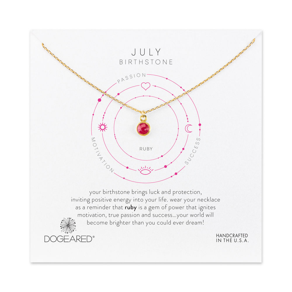 july ruby gem birthstone necklace, gold dipped YDPZJHD