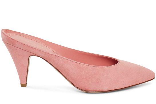 kitten heel mansur gavriel suede 65mm heel slipper in blush, $495, available at mansur  gavriel. qdskpua