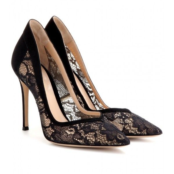 lace heels gianvito rossi lace and suede pumps found on polyvore vnltjev