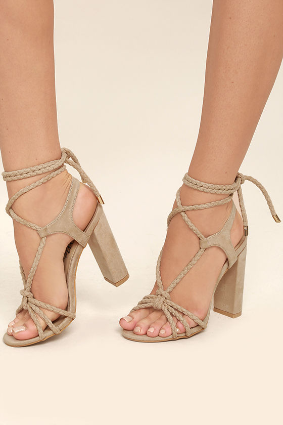 lace heels ophelia nude suede lace-up heels 1 jgrjxms