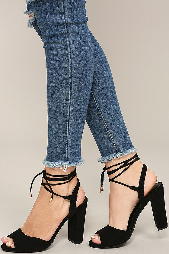 lace heels stylish black heels - lace-up heels - high heels sandals - $25.00 ktvjbpa