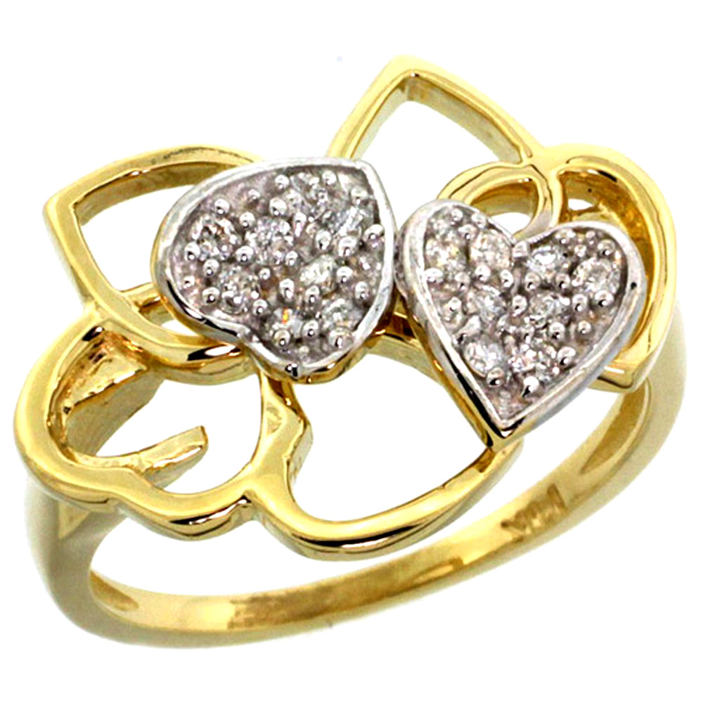 ladies rings 10k yellow gold twin hearts diamond ring uxgnzkq