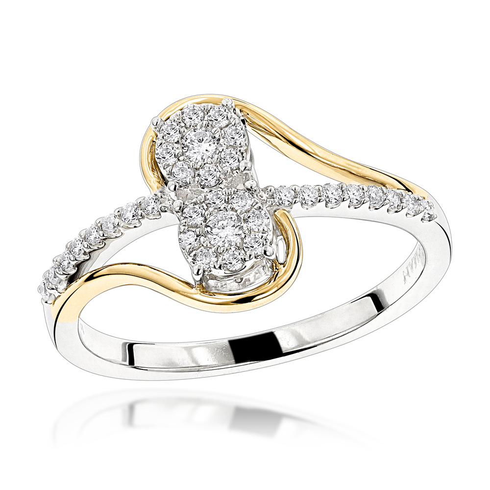 ladies rings love u0026 friendship rings: 14k gold 2 cluster diamond ladies ring 0.25ct rjnprcc