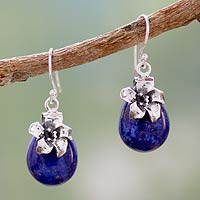 lapis jewelry lapis lazuli dangle earrings, u0027lovely lilyu0027 - lapis lazuli earrings  sterling silver floral pvuyzcs