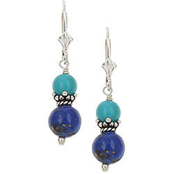 lapis jewelry sterling silver lapis/ turquoise drop earrings svairtb