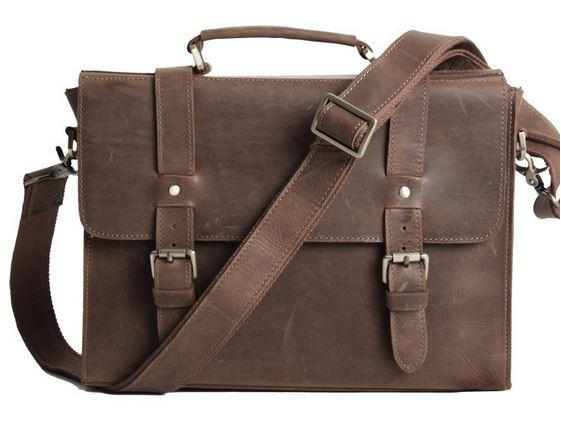 leather bags for men vintage slim notebook portfolio leather bag - dark  brown - wkgqhvu