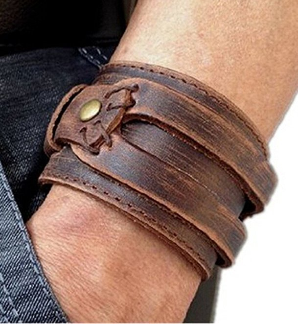 leather cuff bracelet amazon.com: brown leather menu0027s cuff bracelet: jewelry hkqmsbn