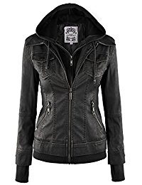 leather jackets women mbj womens faux leather motorcycle jacket with hoodie gwxjeby