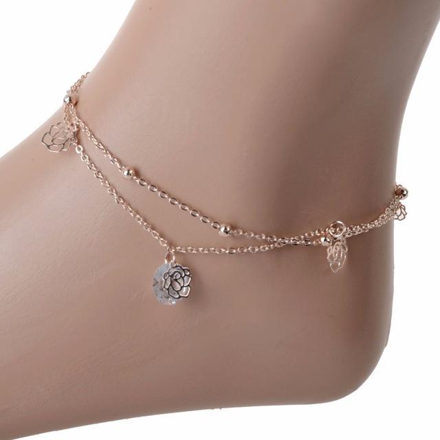 leg bracelet wholesale foot jewelry pierced flower ankle bracelet beads foot chain  double chain cz leg zhtgrki