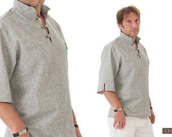 linen shirt men- bohemian clothes for men- linen clothing for men-  valentines gift cysvgmj