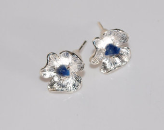 little flower stud earrings tiny lapis lazuli blue gemstone earrings silver  plated stud earrings zxhfllx