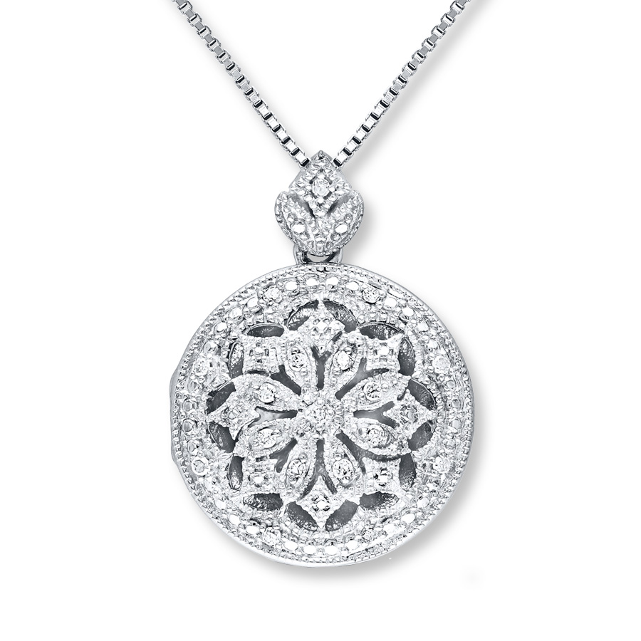 locket necklace 1/10 ct tw diamonds sterling silver bbrancu