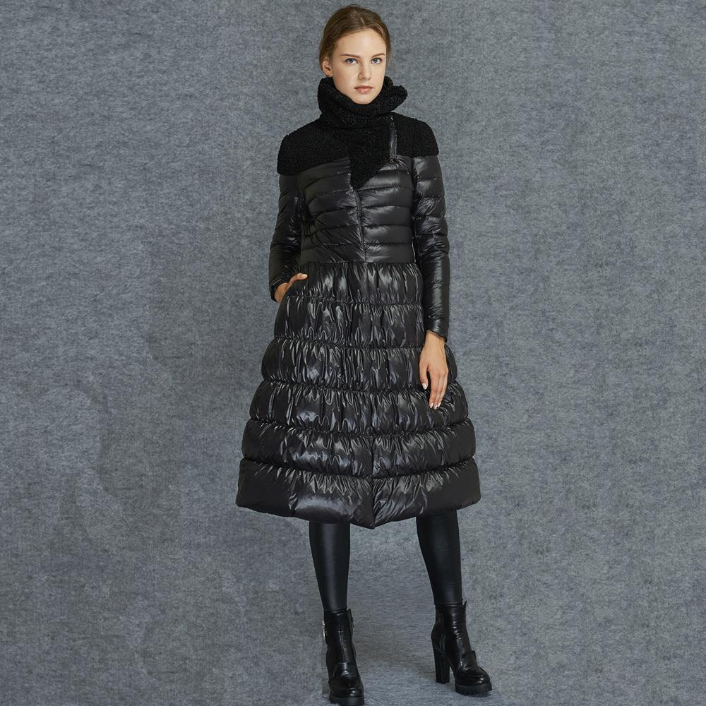 long puffer coat aliexpress.com : buy black women skirt jacket no collar duck down coat full  skirt rkaslbe