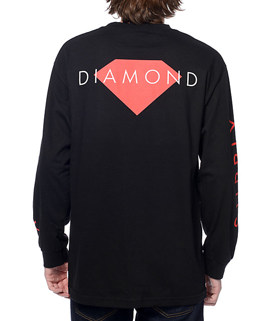 long sleeve shirts diamond supply co solid black long sleeve t-shirt ohhrbqm