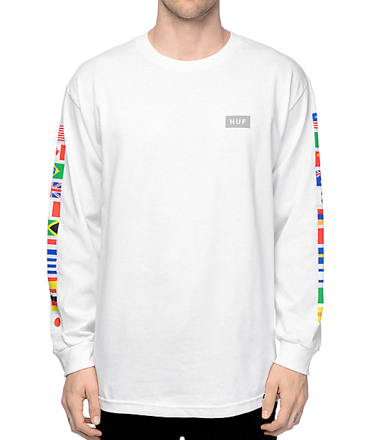 long sleeve shirts huf flags white long sleeve t-shirt uccptcj