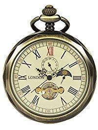 manchda bronze roman numerals mechanical pocket watch open face with chain  men 24-hour moon prnxbqs
