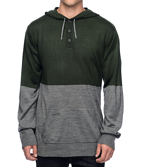 matix nordic green u0026 grey henley hooded sweater tolnqxb