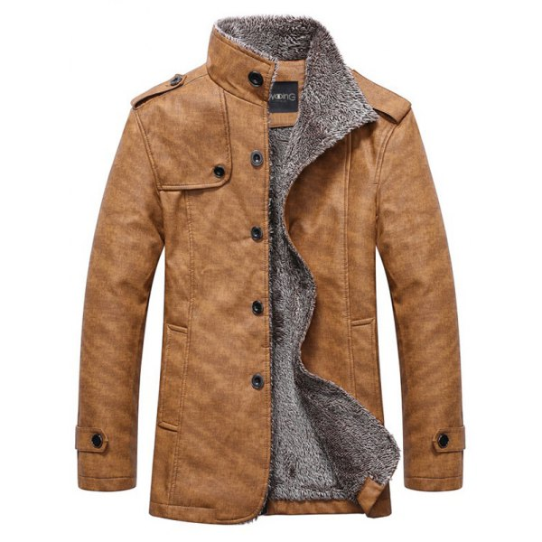 men jackets stand collar single-breasted epaulet embellished jacket - khaki m rkxsapt