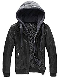 men jackets wantdo menu0027s faux leather jacket with removable hood eowaurh