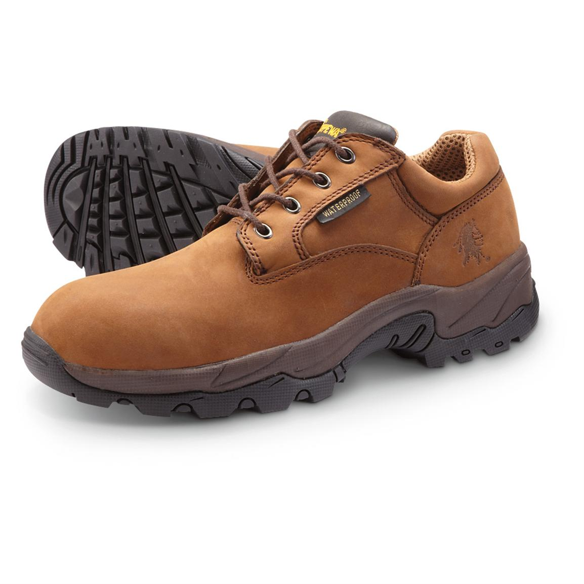 menu0027s chippewa boots waterproof oxford work shoes, brown gtdckuh