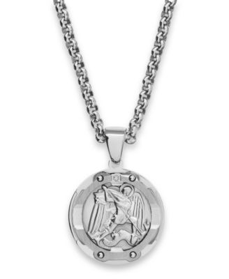 menu0027s st. michael diamond pendant necklace in stainless steel huknhxb
